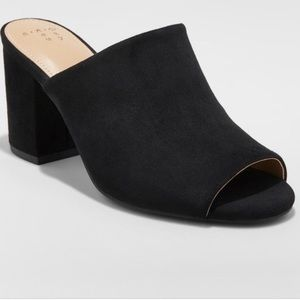 Faux suede open toe heeled mules